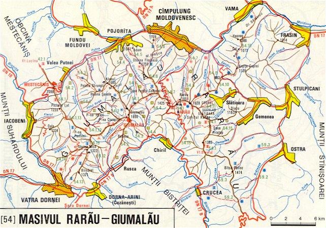 Harta Muntilor Rarau Giumalau Harti Detaliate Poteci Trasee